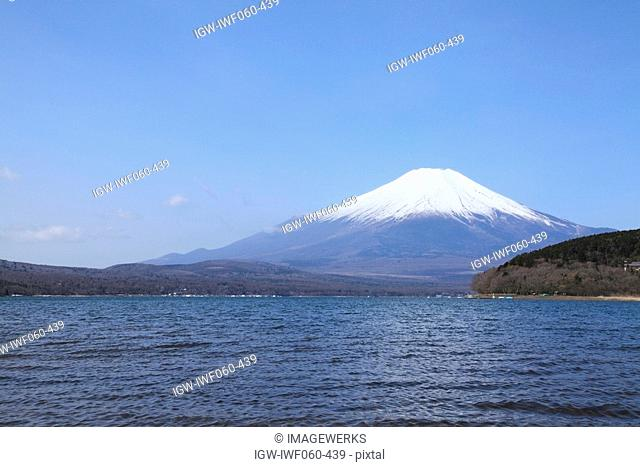 View of Lake Yamanaka with Mt. Fuji in the background