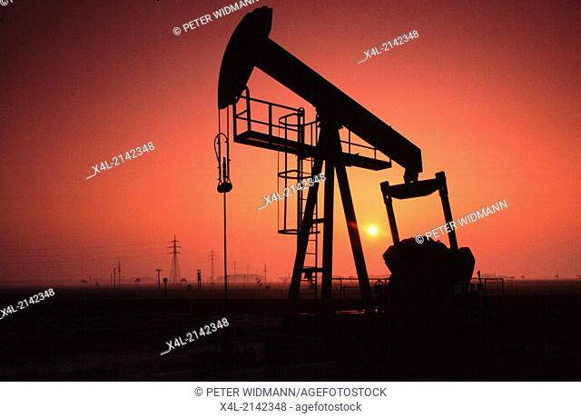 petroleum pump in the evening sun
