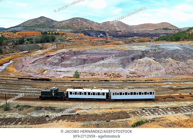 Tourist train.Old raiway of Riotinto Mines.Huelva province.Andalusia.Spain