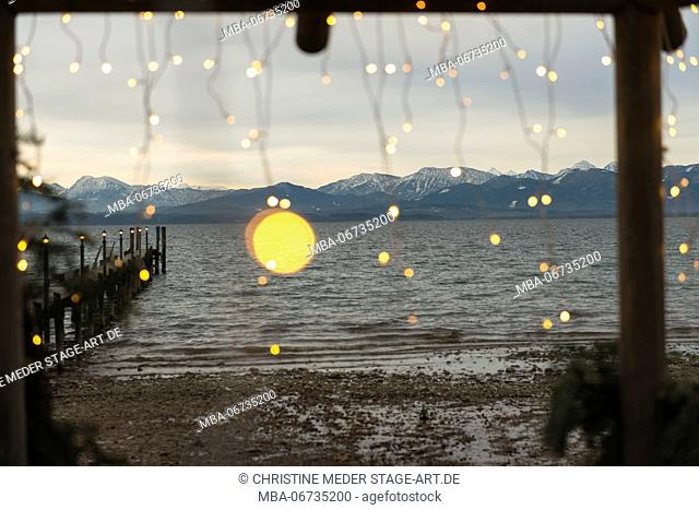 Chain of lights on Chiemsee (lake)