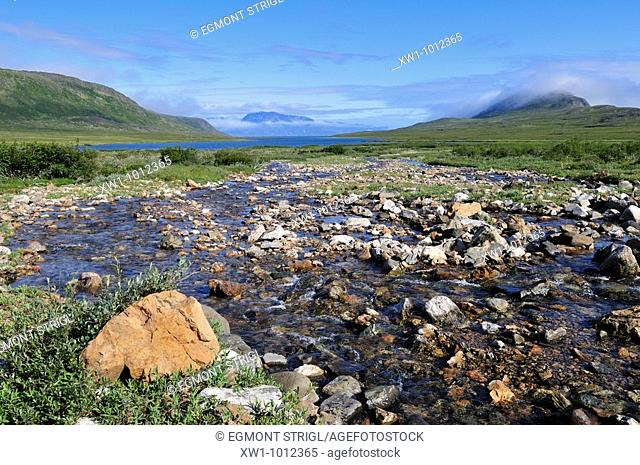 tundra valley with river, Torngat Mountains National Park, Newfoundland and Labrador, Canada