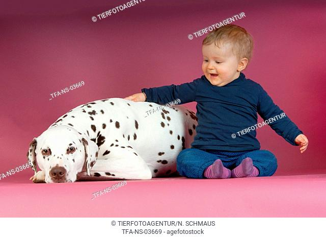 Dalmatian and baby