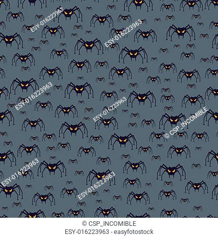 Halloween seamless pattern with spiders