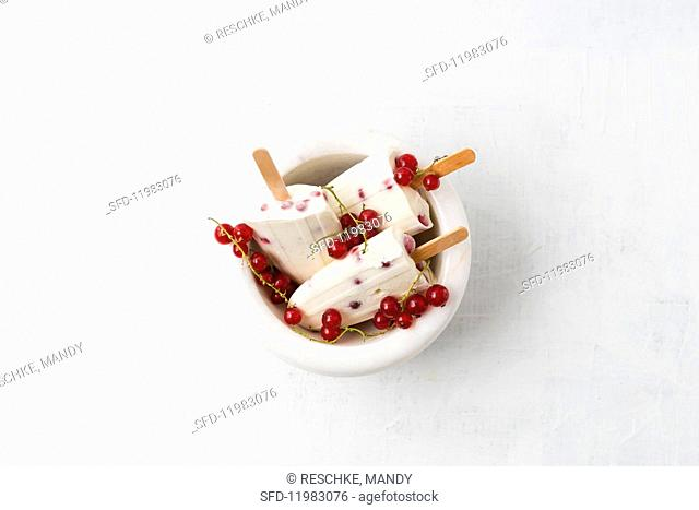 Vanilla and redcurrant ice lollies