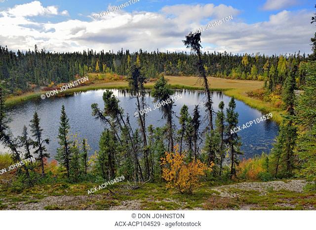 A boreal pond with sutumn foliage near Ennadai Lake, Arctic Haven Lodge, Ennadai Lake, Nunavut, Canada