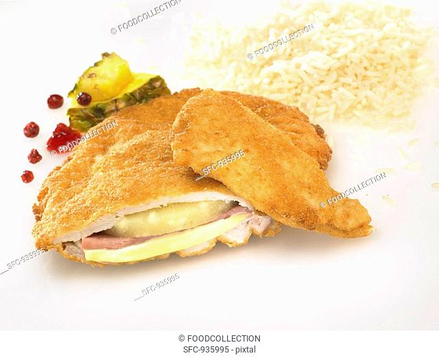 Chicken Cordon Bleu with rice and pineapple