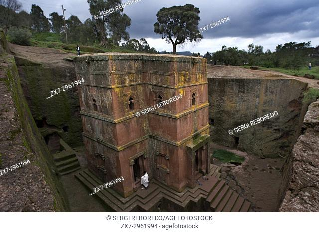 Lalibela, Amhara region, Ethiopia. Church of San Jorge. The Church of St. George is the best preserved of the set of orthodox temples carved in stone of...