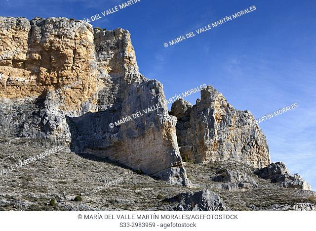 Cliffs at Riaza gorge. Segovia. Castilla Leon. Spain. Europe