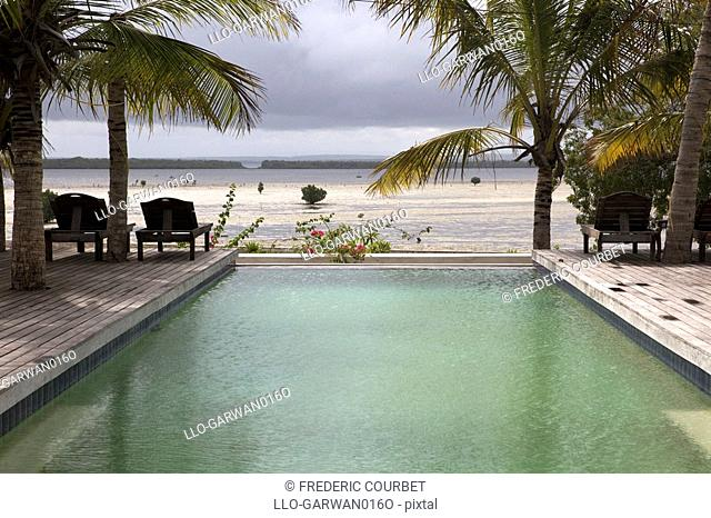 Swimming pool by beach, Ibo island, Quirimbas Islands, Mozambique