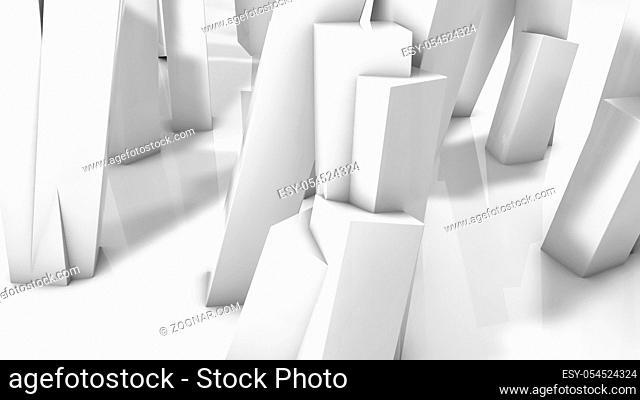 white rectangular three-dimensional columns. abstract illustration. 3d render