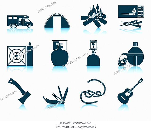Set of camping icons. EPS 10 vector illustration without transparency