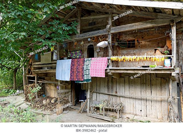 Traditional wooden house near Uzungöl, Trabzon Province, Kaçkar Mountains, Black Sea Region, Turkey