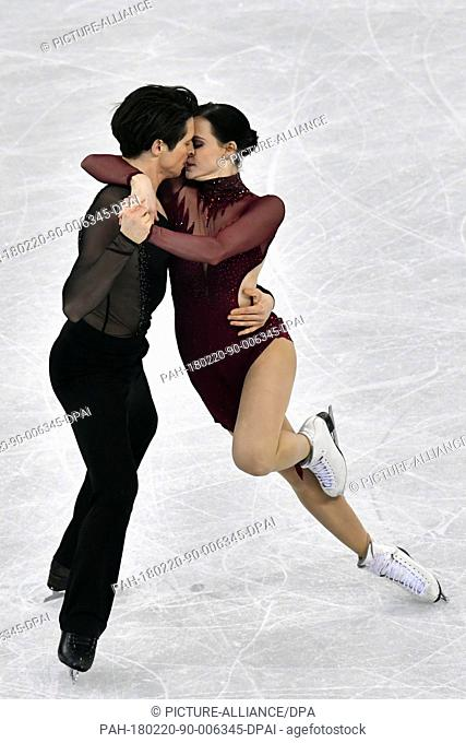 20 February 2018, South Korea, Gangneung: Olympics, Figure Skating, Ice Dance Free, Gangneung Ice Arena: Canada's Tessa Virtue and Scott Muir in action