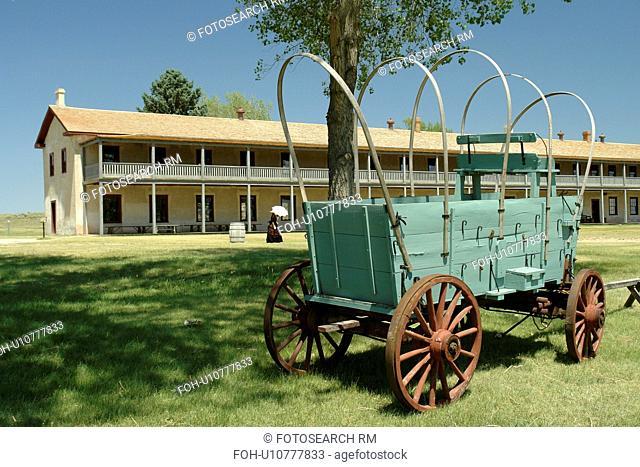 Fort Laramie, WY, Wyoming, Fort Laramie National Historic Site, Calvary Barracks, covered wagon