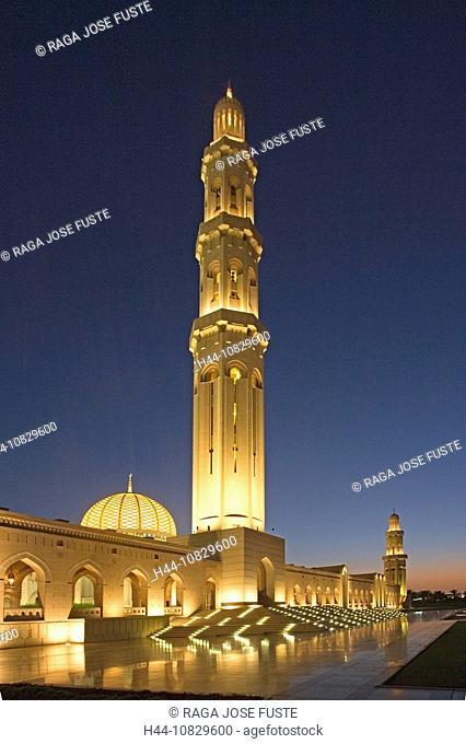 Oman, Arabia, East, Maskat town, city, Muscat, sultan Qaboos mosque, architecture, Islam, religion, at night, night, m