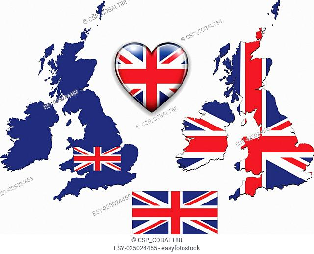 England UK flag, map