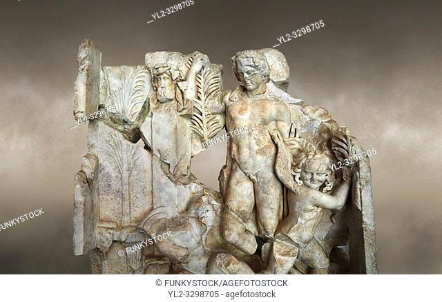 Close up of a Roman Sebasteion relief sculpture of Agon Aphrodisias Museum, Aphrodisias, Turkey. Against an art background.
