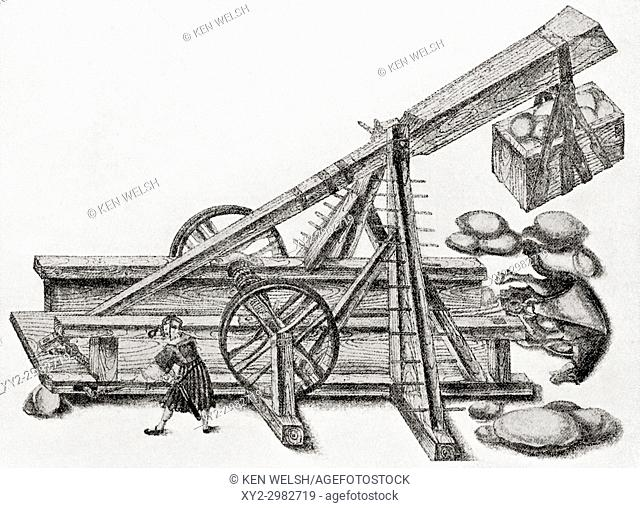 A catapult used by the army of Maximilan I. This wooden machine was used for throwing stones, rocks or even rubbish into a fortified place or castle during the...