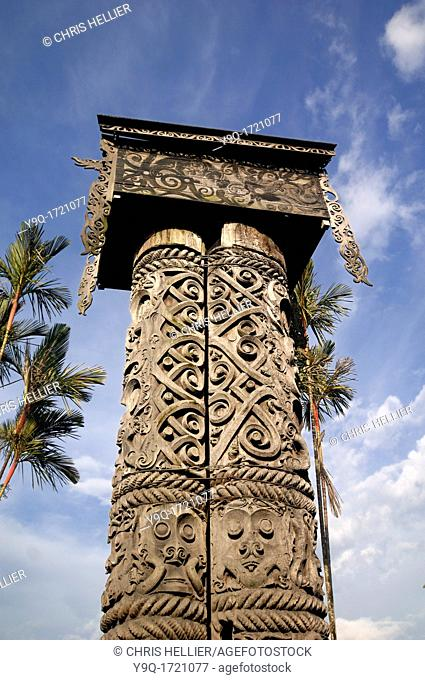 c19th Ceremonial Coffin, Burial Trunk, Pole or Stele of Kayan Tribe Outside Sarawak Ethnographic Museum Borneo Malaysia