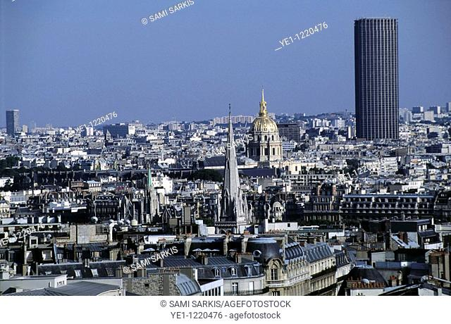 City buildings seen from the Eiffel Tower including the Montparnasse Tower and the dome of Les Invalides, Paris, France