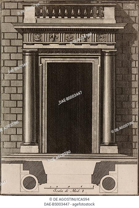 Main entrance to Palazzo della Cancelleria, Rome, Italy, designed by Jacopo Barozzi da Vignola, engraving from Il Vignola Illustrato