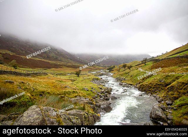 Lake District landscape in autumnal fog