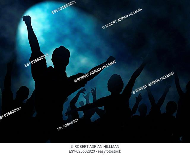 Editable vector silhouettes of people cheering or celebrating under a smoky spotlight with background made using a gradient mesh