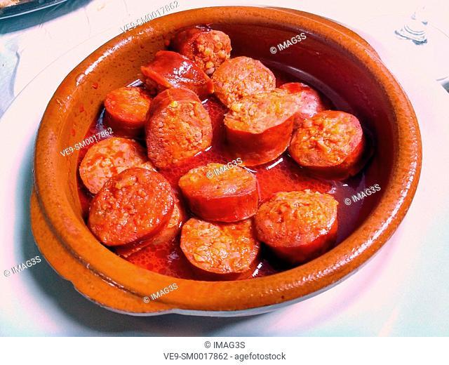 Chorizo a la sidra (red sausage cooked with cider), Nava, Asturias, Spain