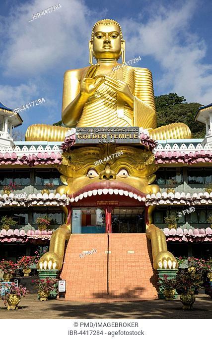 Golden temple with Buddha statue, Dambulla, Sri Lanka
