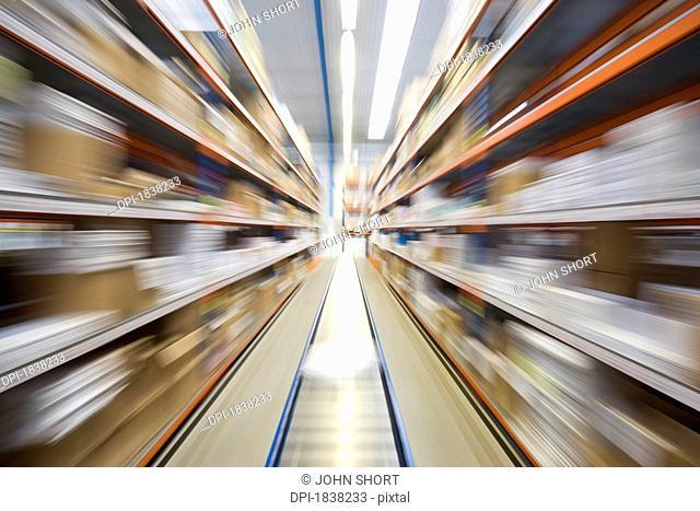 Motion blur of a warehouse conveyor belt