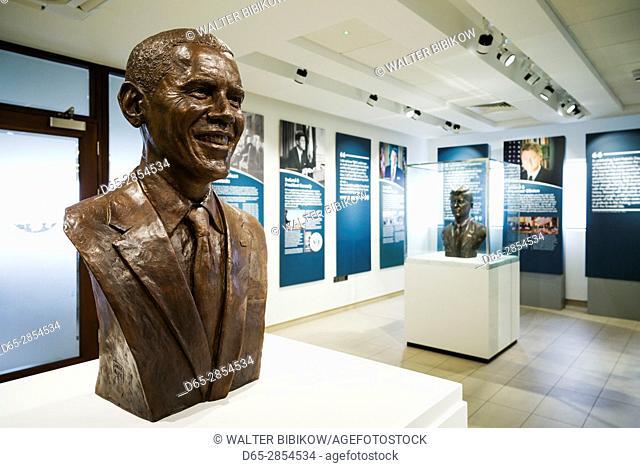 Ireland, County Offaly, Moneygall, motorway plaza named for US President Barack Obama, Barack Obama Plaza, Obama visit museum, bust of Obama