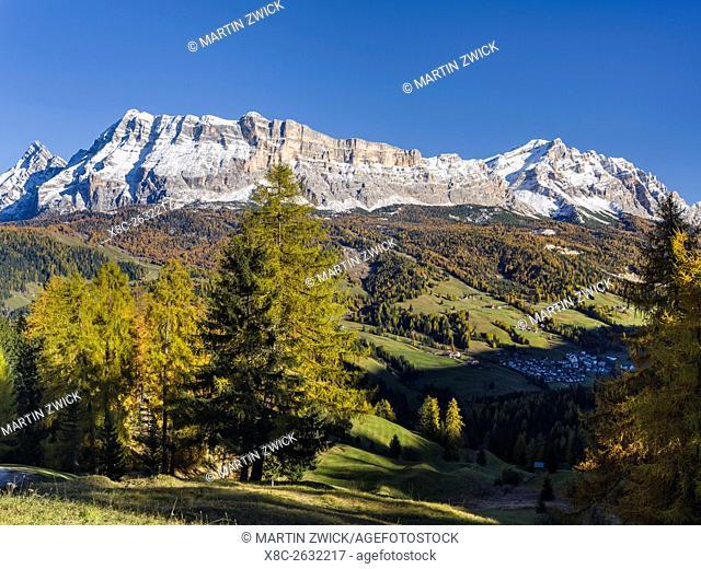 Mount Heiligkreuzkofel - Sasso di Santa Croce in Fanes mountain range in South Tyrol - Alto Adige. Village Abtei - BAdia in the valley
