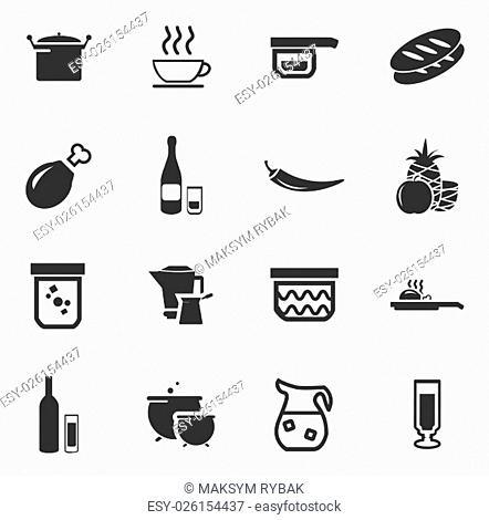 Food and kitchen simply icons for web and user interfaces