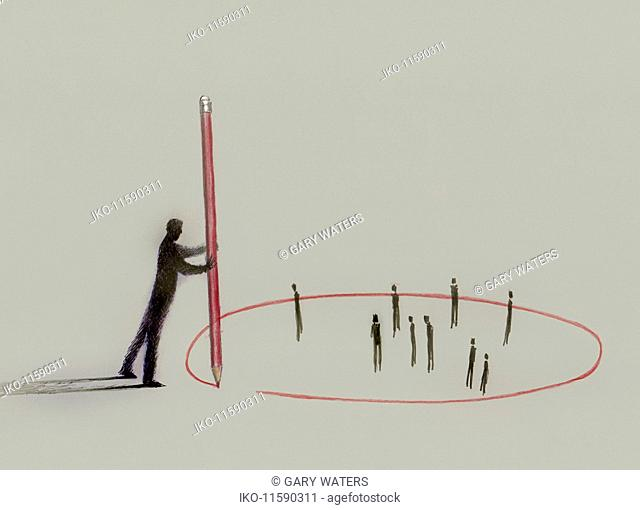 Businessman with pencil drawing red circle around small business people