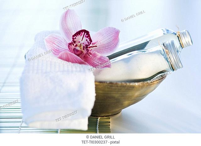 Tropical flower and spa elements