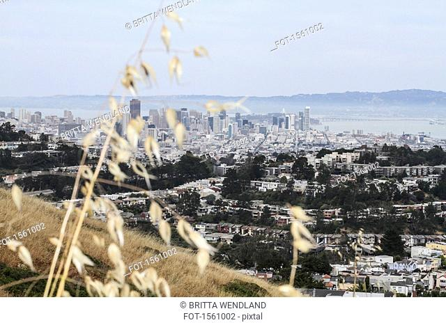 High angle view of cityscape against overcast sky, San Francisco, California, USA