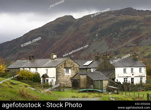 Cottages at High Park near Little Langdale with Lingmoor Fell beyond in the Lake District National Park, Cumbria, England
