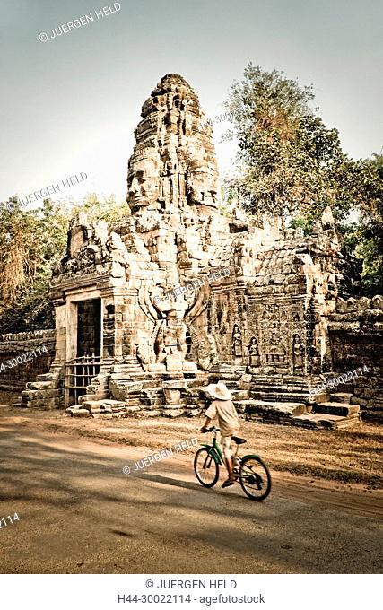Gopuram near Ta Phrom , Angkor Wat , Cambodia, Asia