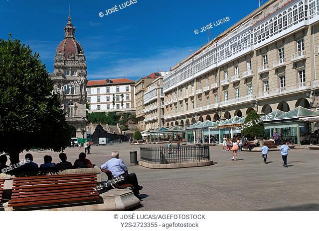 Maria Pita square, La Coruña, Region of Galicia, Spain, Europe