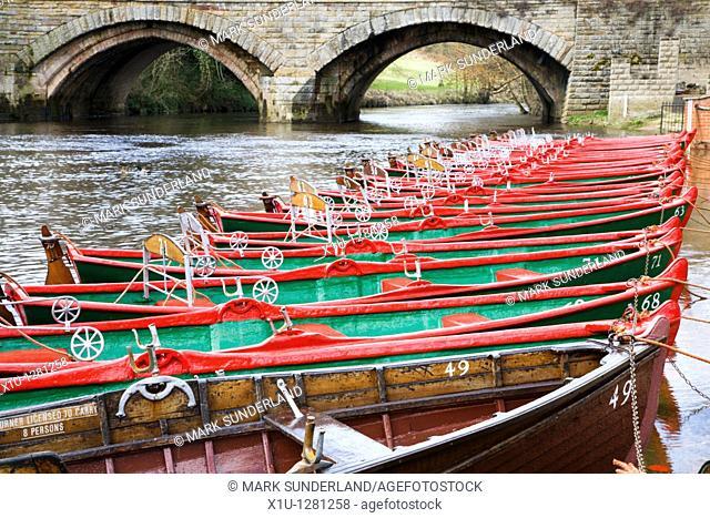 Boats at High Bridge Knaresborough Yorkshire England
