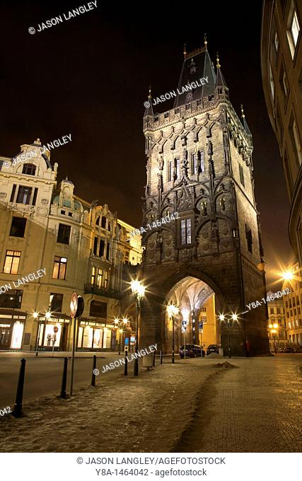Prasna brana or Powder Gate at night, Praha Prague, Czech Republic