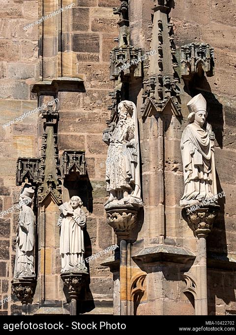 Gothic figures at the Johanniskirche, Ansbach, Middle Franconia, Franconia, Bavaria, Germany