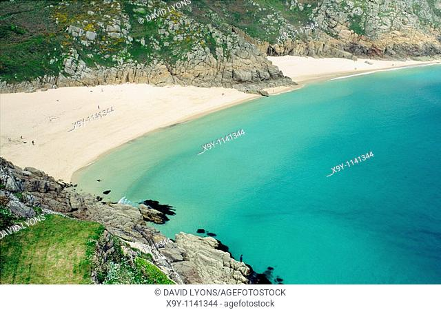 Sunbathers on the white sandy beach at Porthcurno Bay in Cornwall, England UK United Kingdom