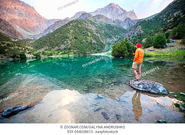 Beautiful serene lake in Fann mountains (branch of Pamir) in Tajikistan