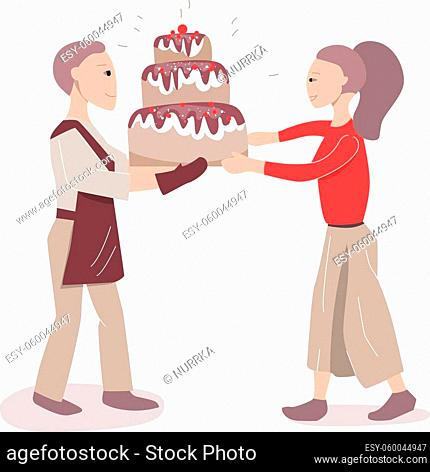 Baker giving big cake to female customer. Illustration can be used for cafe menu and food design templates