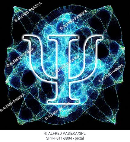 Computer artwork of the greek letter psi and a Lissajous figure in the background. The letter psi is commonly used in physics to represent wave functions in...