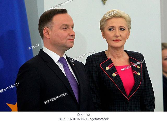 February 14, 2018. Warsaw, Poland. Presidential Couple - Andrzej Duda and Agata Duda