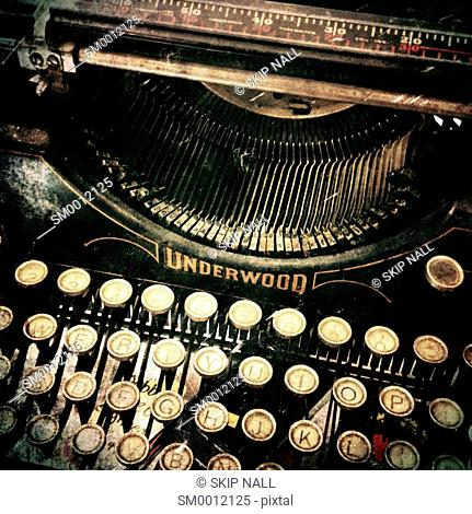 Closeup of an antique Underwood typewriter