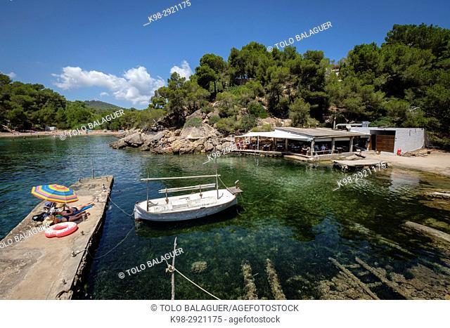 El bigotes restaurant, Cala Mastella, Sant Carles, Municipio Santa Eulària des Riu, Ibiza, Balearic Islands, Spain