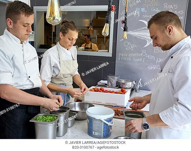 Kitchen, Restaurante Rita, Gastronomic tour, Donostia, San Sebastian, Gipuzkoa, Basque Country, Spain, Europe